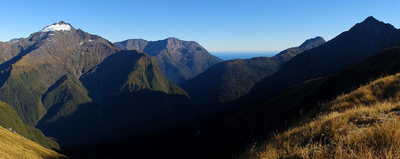 Looking into the Turnbull River from the Browning Range. From left to right are Souter Peak, Mt Selborne, Cuttance Ridge, Mt Warren and Mt Harris