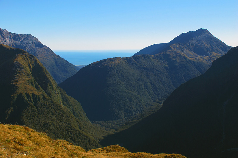 Looking into the Turnbull River from the Browning Range. Cuttance Ridge and Mt Warren are at centre image; Io Creek comes in from the right
