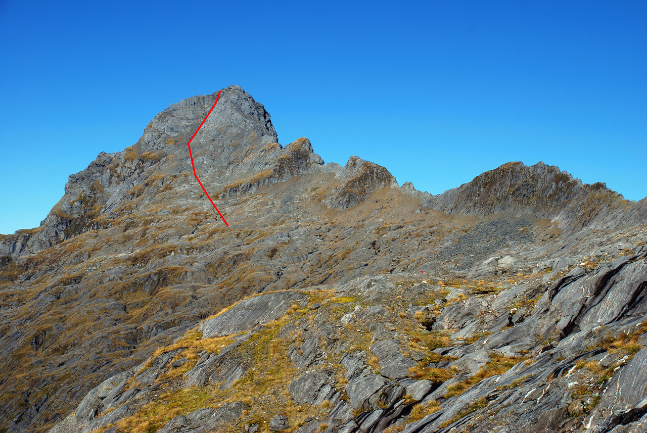 Our route up Mt Franklin, Browning Range. An easy scree chute leads all the way up the slabby north face
