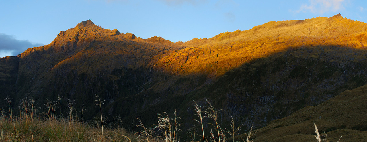 Sunrise on Mt Franklin (left) and Mt Harris (right), Browning Range