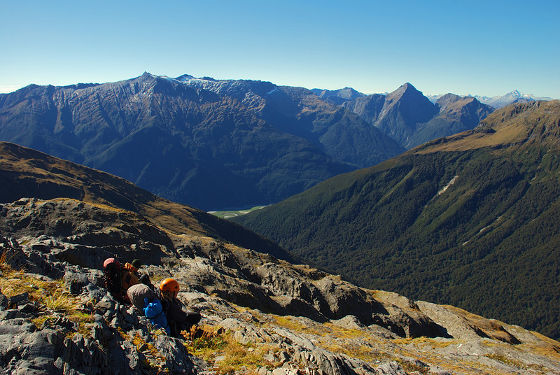 Taking a rest on the slopes of Mt Harris, Browning Range, high above Franklin Creek