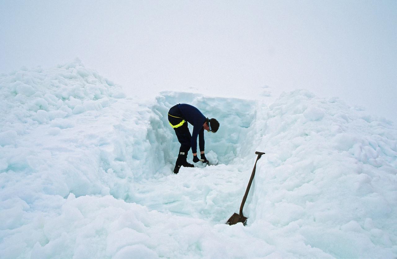 Digging a tent-site