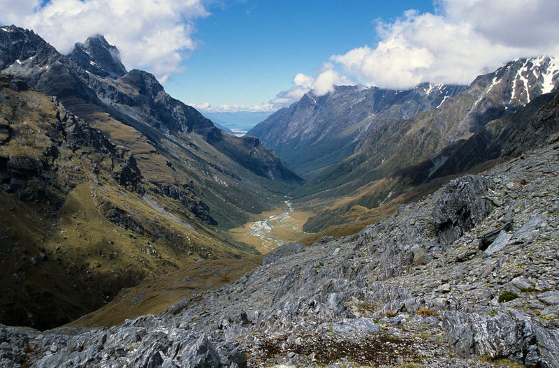 Looking into the Beans Burn from Fohn Saddle