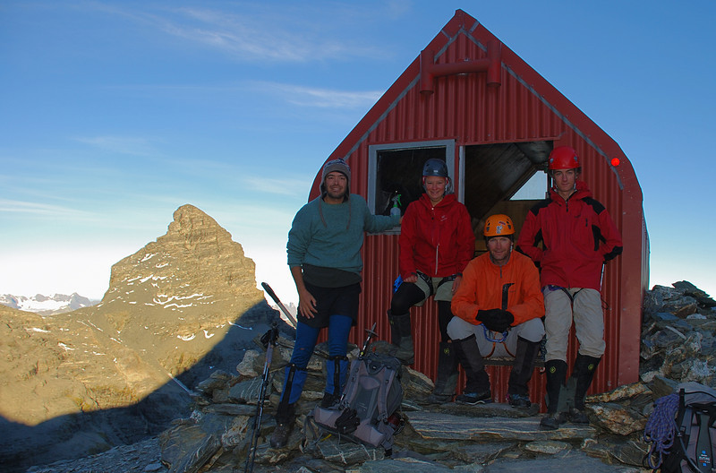The team at Esquilant Biv. Pluto Peak to the left
