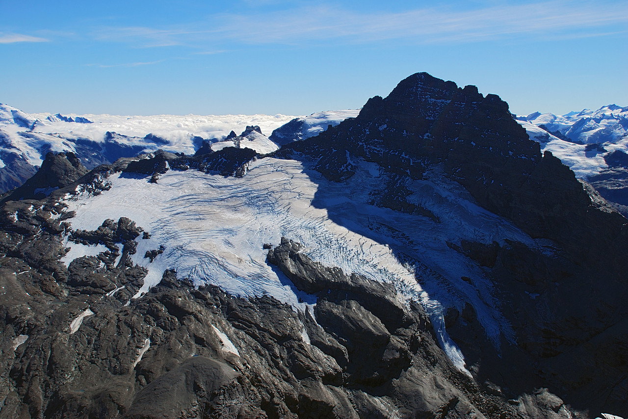 Sir William Peak and the Frances Glacier from Pluto Peak