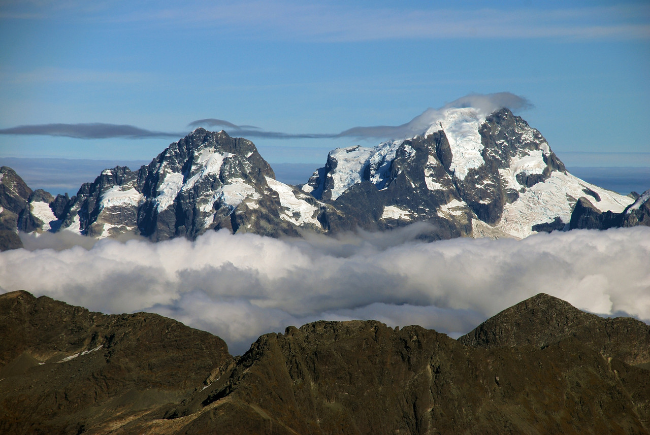 Mt Madeline and Mt Tutoko from Pluto Peak