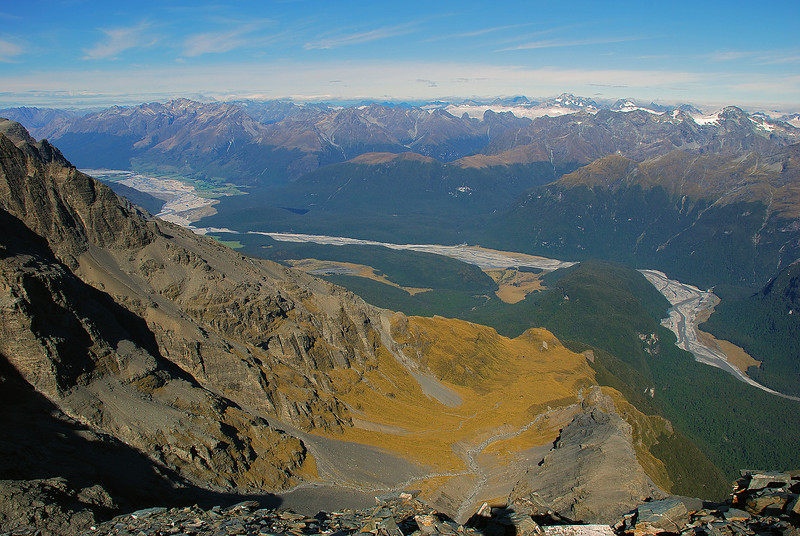 View from Pluto Peak: Spaniard Valley, Valpys Pass and the Dart River