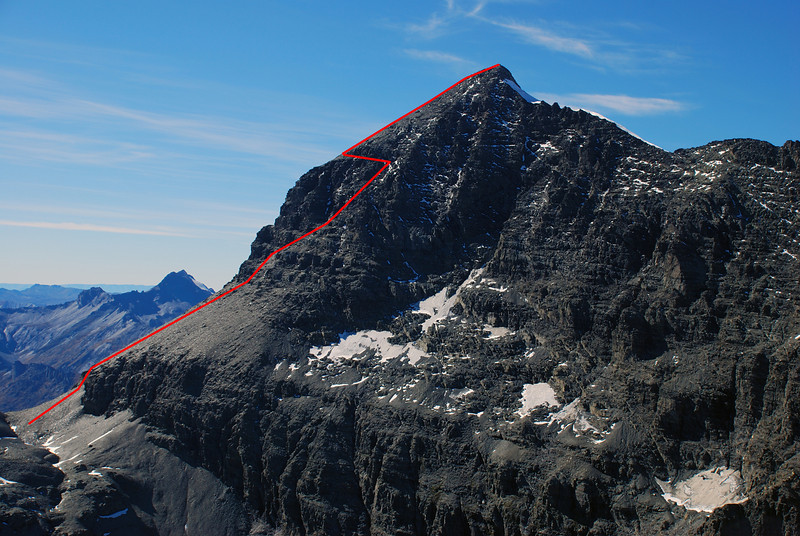 The standard route to the East Peak of Mt Earnslaw