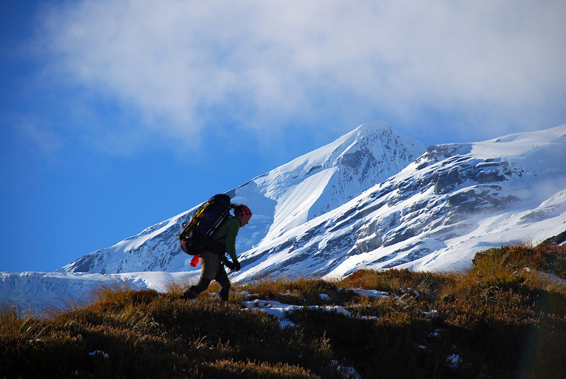 Nina on French Ridge. Mount Aspiring in the background