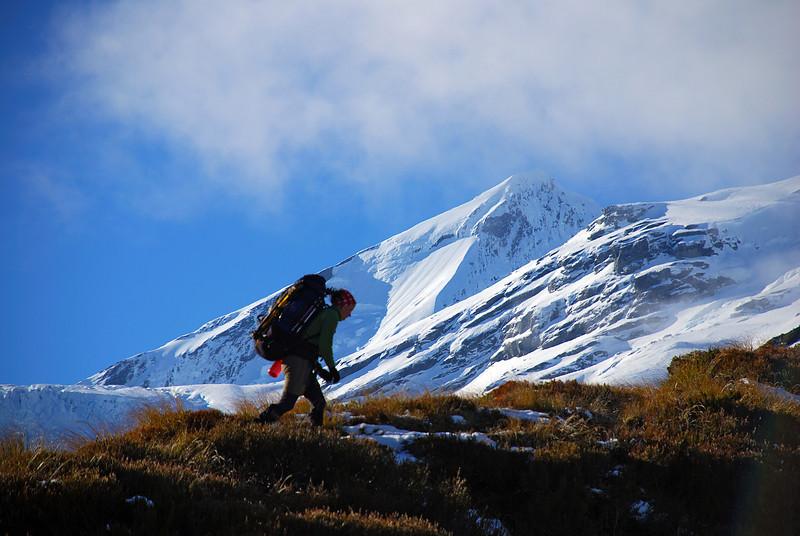 Nina on French Ridge. Mount Aspiring in the background