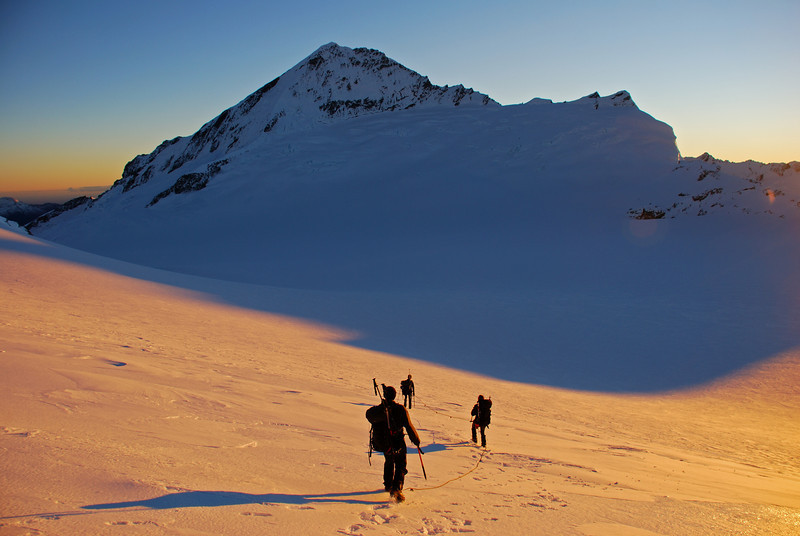 Crossing the Bonar Glacier at sunrise