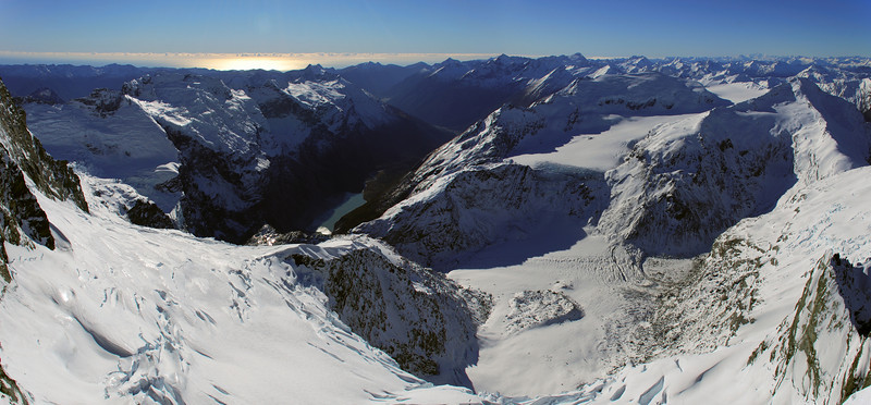 Volta Glacier and Waiatoto River from Popes Nose
