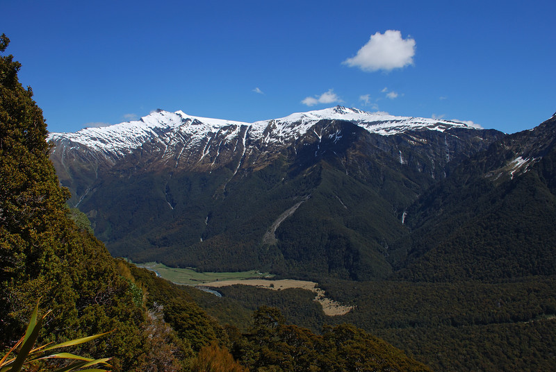Mount Tyndall, Mount Ansted and Cascade Saddle from the slip below the Rob Roy bivvy rocks.