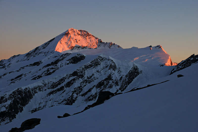 First daylight on the south face of Mount Aspiring