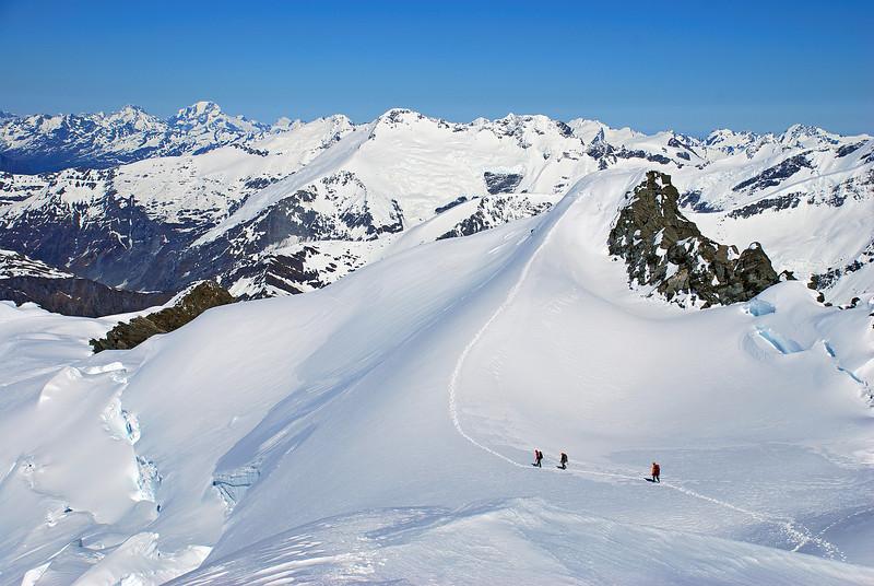 Leaving the summit of Rob Roy Peak