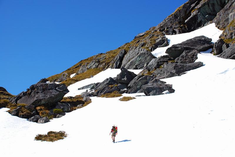 Approaching the Rob Roy bivvy rocks