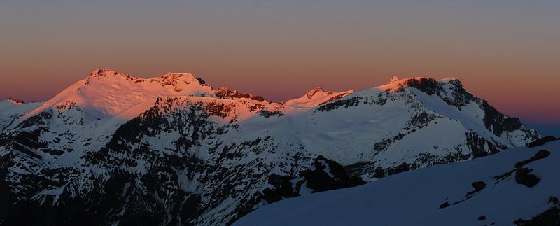 View from the western slopes of Rob Roy Peak: Mt Edward, Mt Maoriri, Mt Maruiwi, Mt Maori, Mt Liverpool