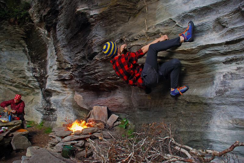 Jaz bouldering under the Rock of Ages