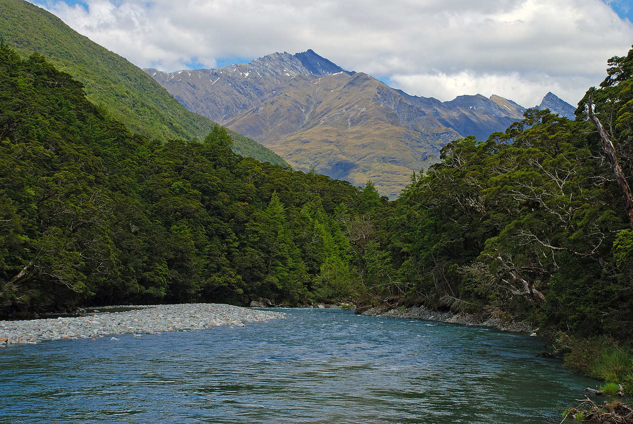 Looking down the Matukituki River east branch. Fog Peak at centre image.