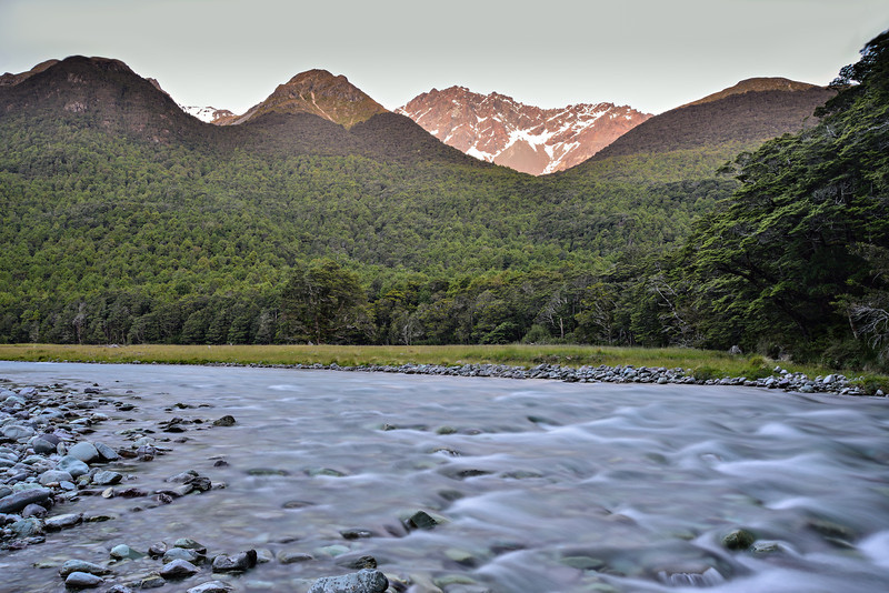 Caples River and Mount Bonpland in the last evening light