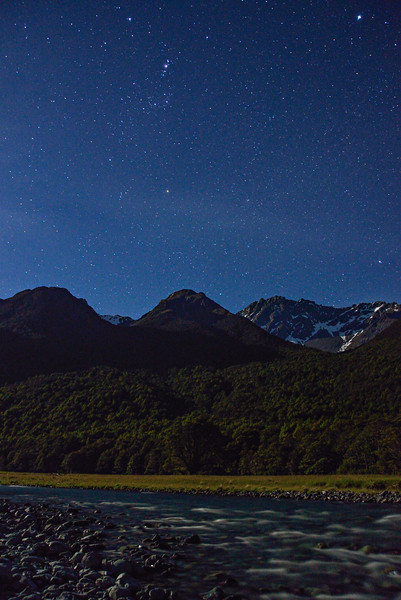 Caples River and Mount Bonpland at night