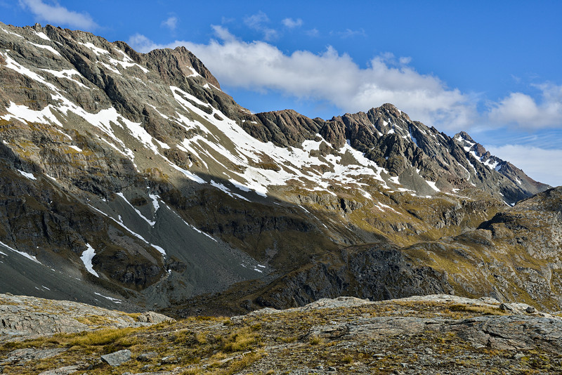 Mount Bonpland (on the far right) and the range north of it from the slopes above Scott Creek / Kay Creek Saddle