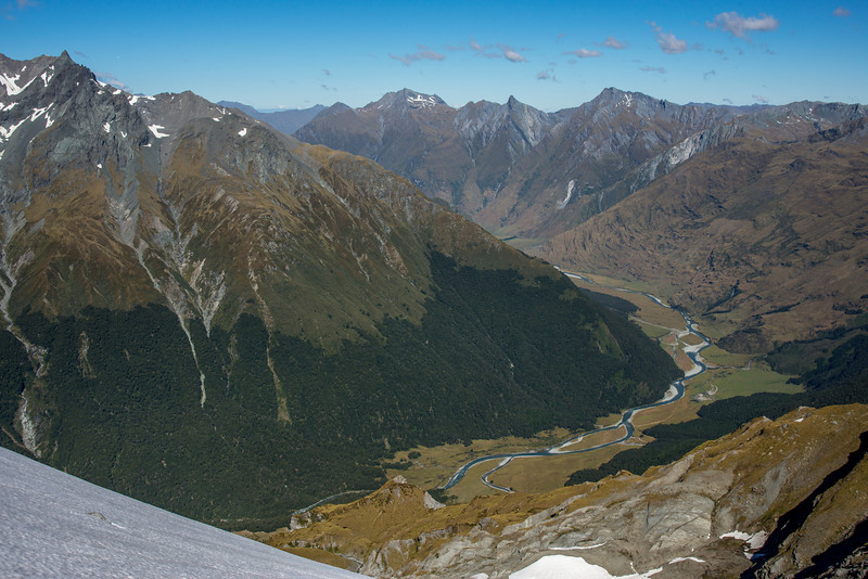 View down the West Matukituki. Fog Peak, Sharks Tooth Peak and Craigroyston Peak on the skyline; Glengyle on far left