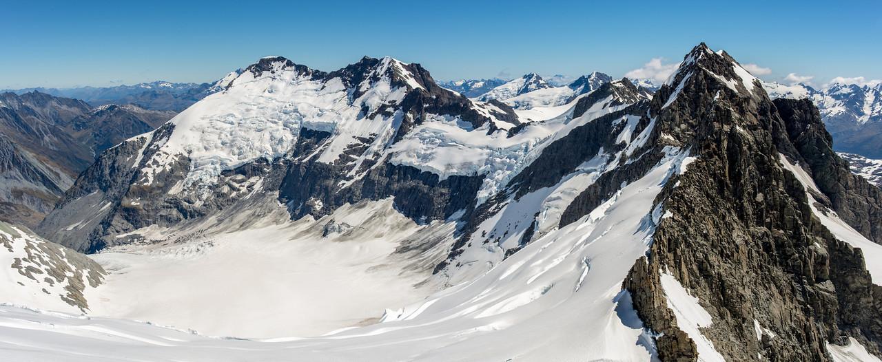 Dart Glacier from Mt Liverpool. Peaks on the skyline are Mt Edward, Mt Maoriri, Mt Maori