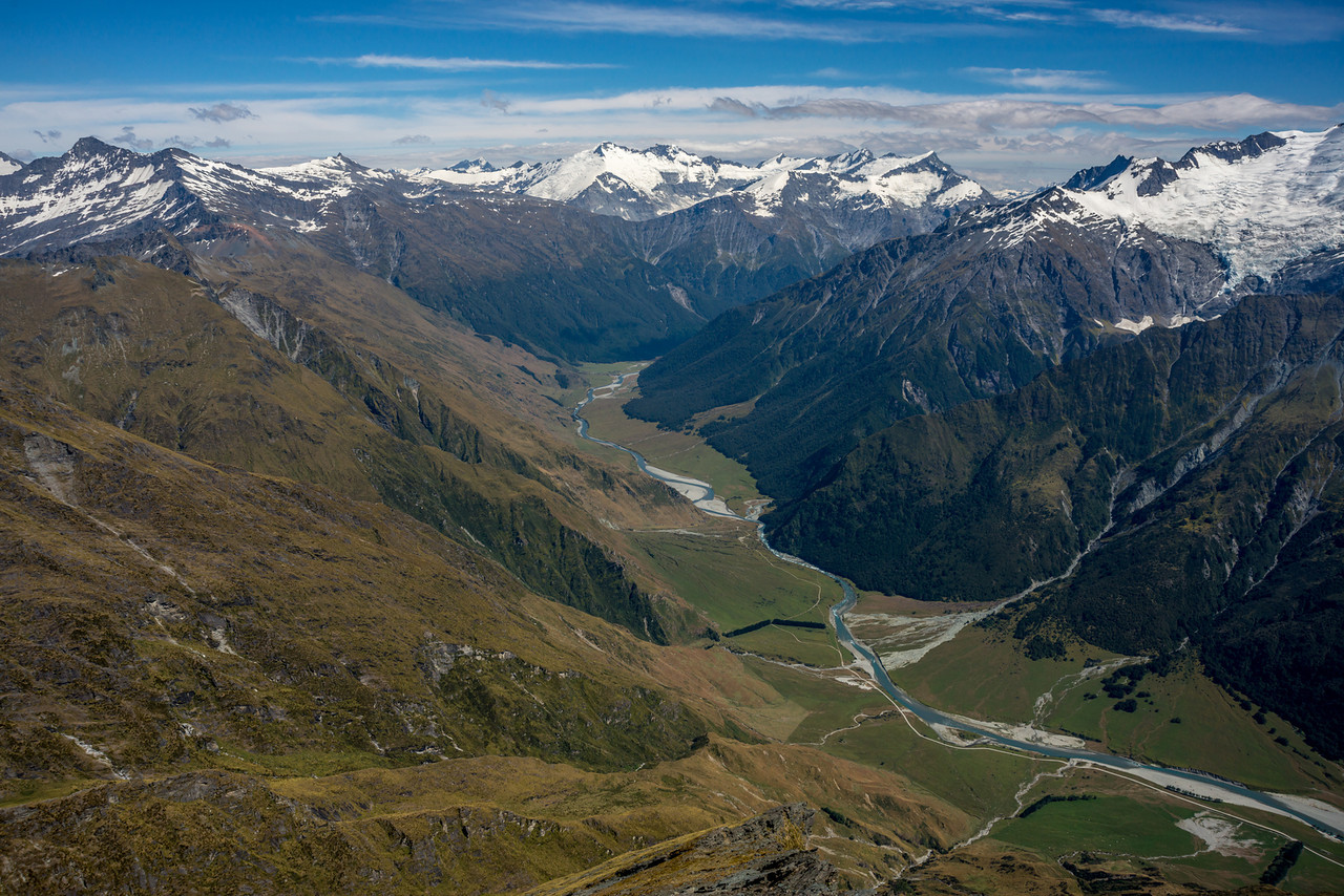 View up the Matukituki River West Branch from Sharks Tooth Peak