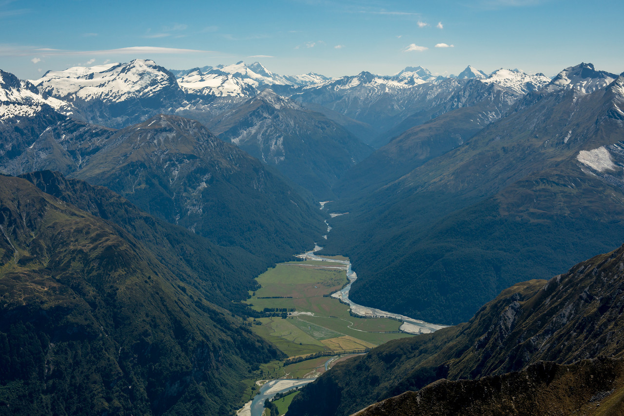 View up the Matukituki River East Branch from Sharks Tooth Peak