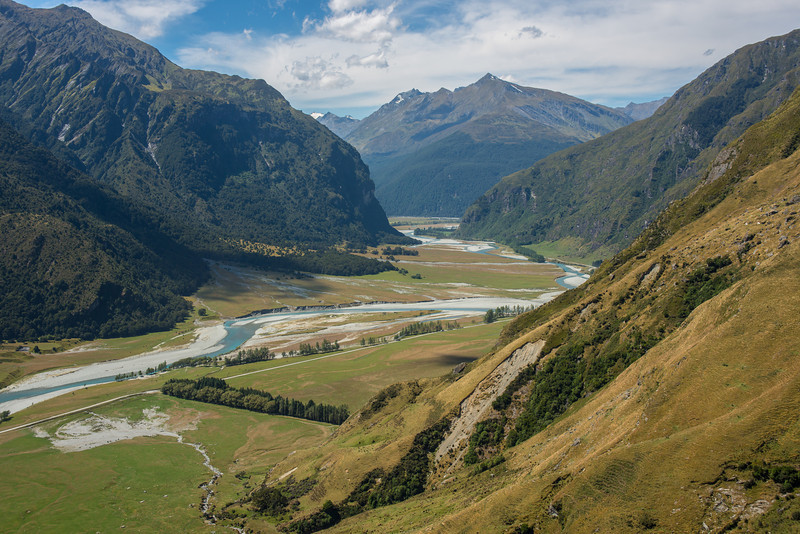 The lower Matukituki River West Branch and Mt Eostre from the slopes of Sharks Tooth Peak