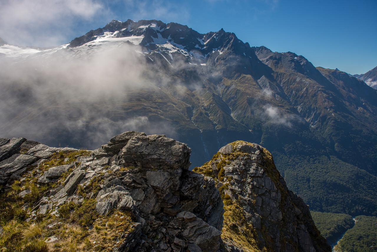 Rob Roy Peak west face and Glengyle Peak from Rough Ridge