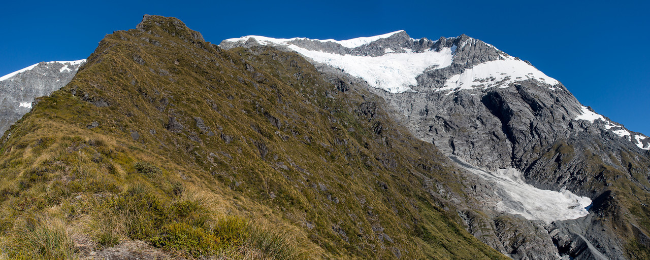 Climbing Rough Ridge. The Christopher Johnston Glacier and Islington Dome above, with the east ridge on right