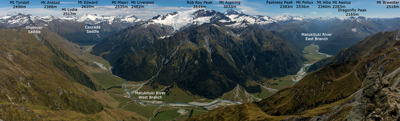 Matukituki Valley panorama, from the summit of Sharks Tooth Peak