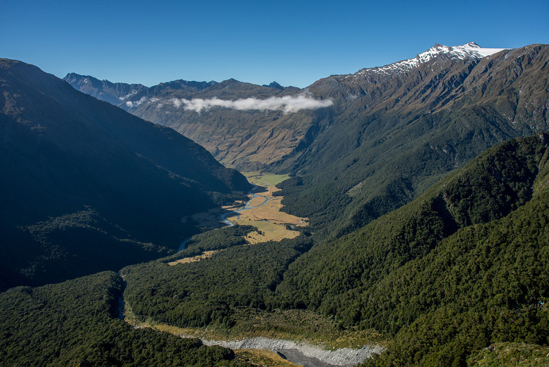 The river flats down valley of Aspiring Hut (visible at centre image) from Rough Ridge. Mt Tyndall top right