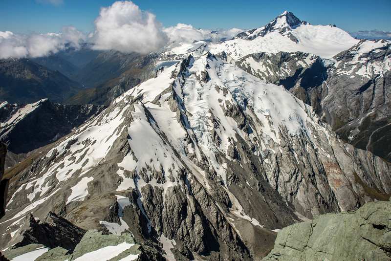 Arawhata Saddle, Mt Barff and Mt Aspiring from the summit of Mt Liverpool