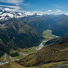 View up the Matukituki River East Branch from Sharks Tooth Peak. Mt Aspiring on left