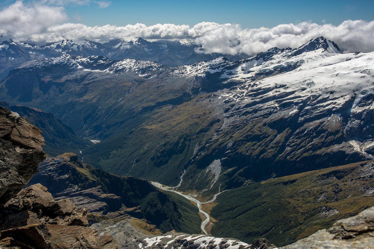 View into the Upper Arawhata River from the summit of Mt Liverpool