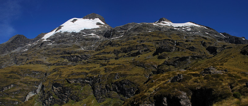 Black Peak, Mt Earnslaw East Peak and the east shoulder of O'Leary Peak from the spur north of Kea Basin