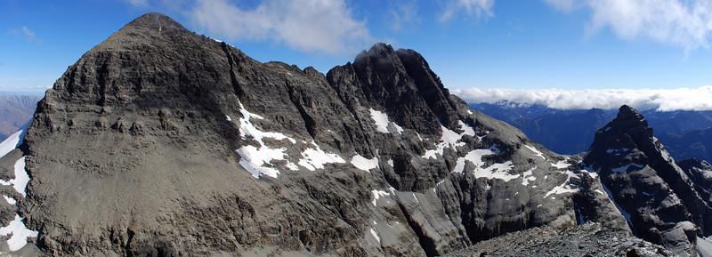 Mt Earnslaw and Pluto Peak from O'Leary Peak.
