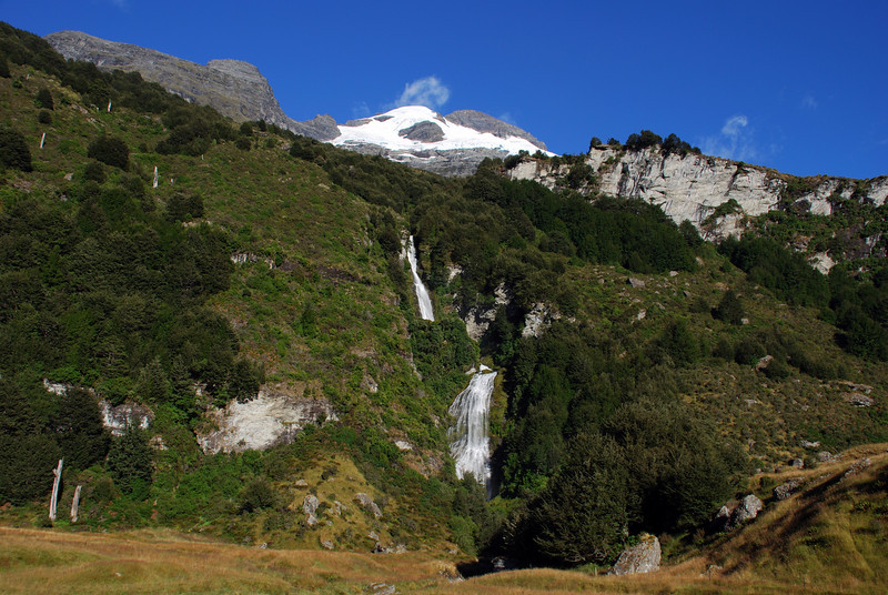 Lennox Falls, Rees Valley. Black Peak and Mt Earnslaw above.