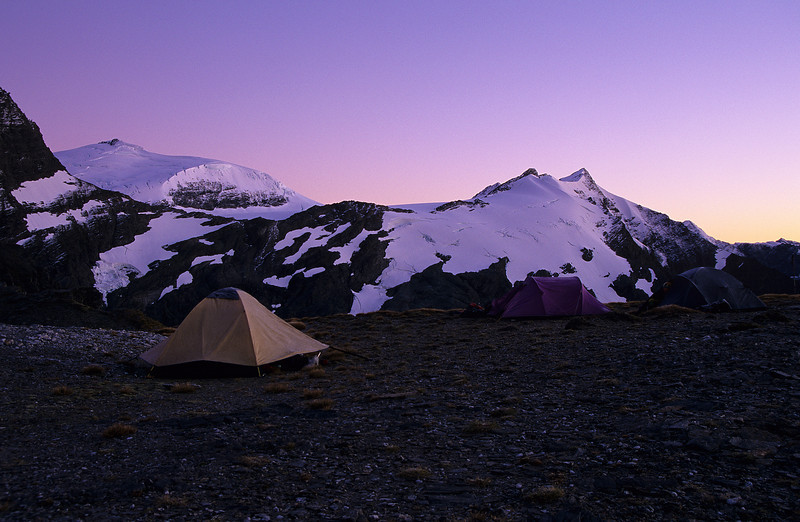 Campsite on Wilmot Saddle. Glacier Dome and the top of Ruth Ridge in the back