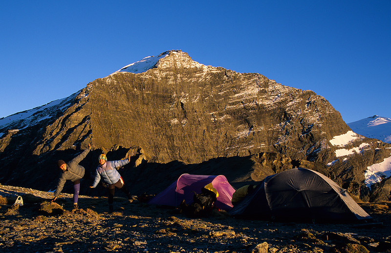 Campsite on Wilmot Saddle. The east face of Fastness Peak in the back