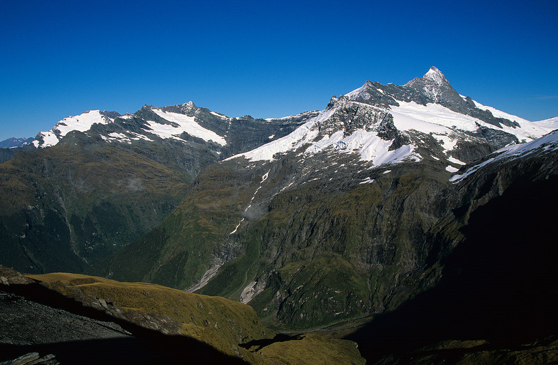 Rob Roy Peak, Mount Avalanche and Mount Aspiring from the summit of Sisyphus Peak