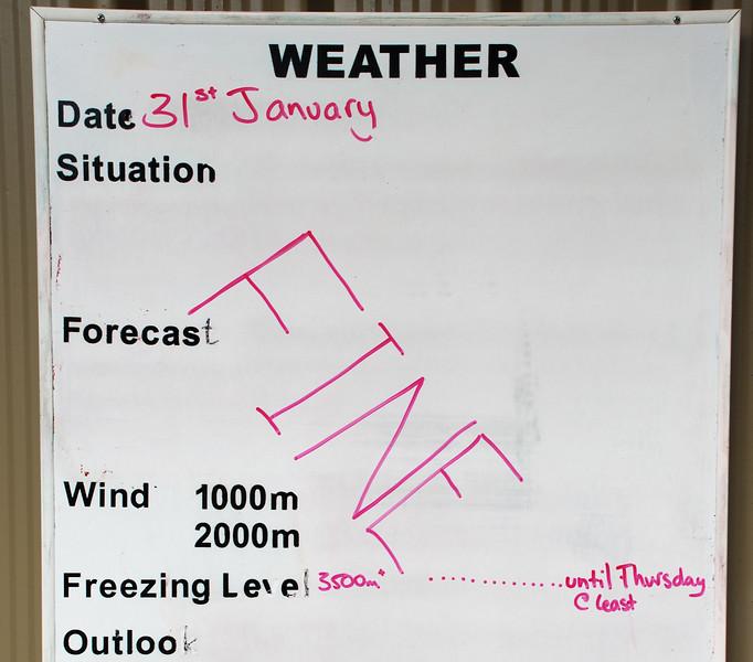 Dart Hut - the weather forecast issued on Sunday, January 31st...
