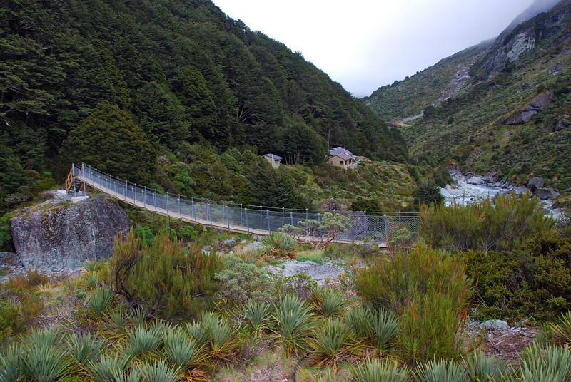 Dart Hut and the swingbridge over Snowy Creek