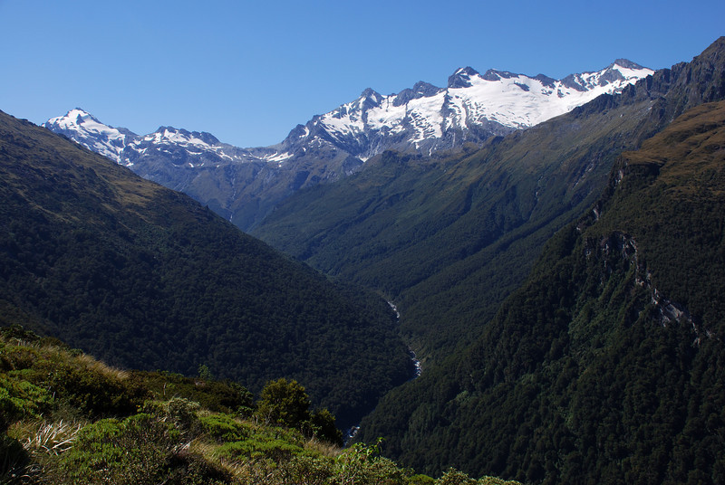 Looking into the upper Arawhata from the Waipara Range. From left to right are Mt Barff, Arawhata Saddle, Mt Liverpool, Mt Wahine, Mt Maori, Maiti-iti, Mt Maruiwi.