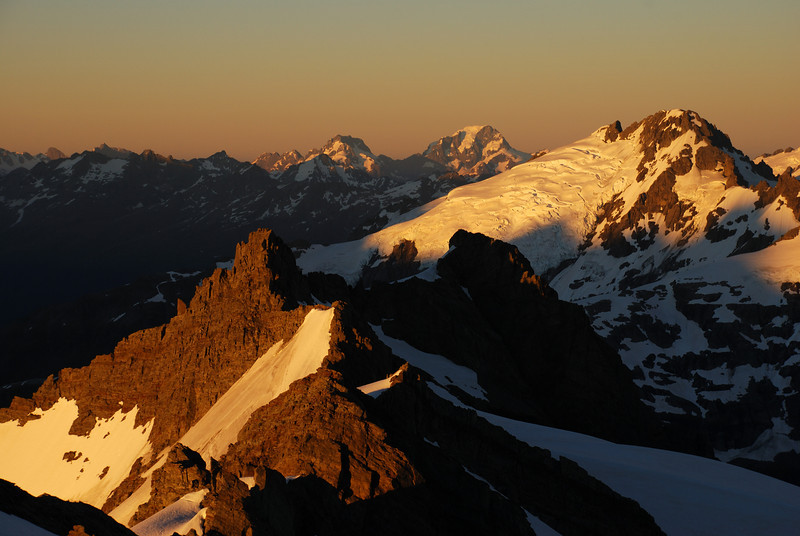 Marion Tower, Mt Madeline, Mt Tutoko and Mt Ian in first sun-light.