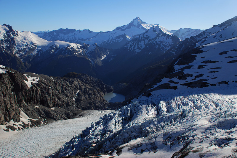 The lower Snow White Glacier from the ridge above Mystery Col. And a new lake that is not surrounded by moraine!