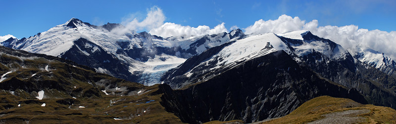 The mountains at the head of the Dart Glacier from the Pylon above Cascade Saddle